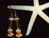 Enamel Frog . Dangle Pierced Earrings . Pink & Blue Bell Flowers - Cool Mornings by enchantedbeas on Etsy