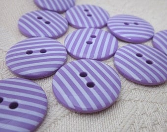 10 Candy Striped Purple Buttons