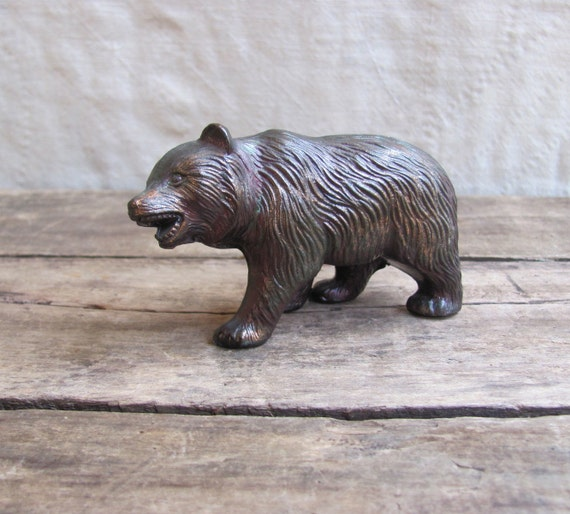 Grizzly Vintage Cast Metal Bear Figurine With Iridescent