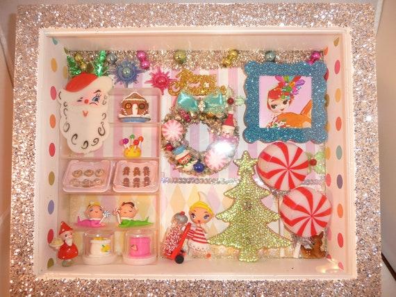 Custom Order for Visanee OOAK Vintage Inspired Sweet Christmas Shop w Pixies