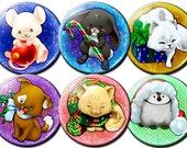 "Adorable Christmas Cuties Xmas Chibi Animals - 1.75"" Pin-Backed Buttons - Set of 6"