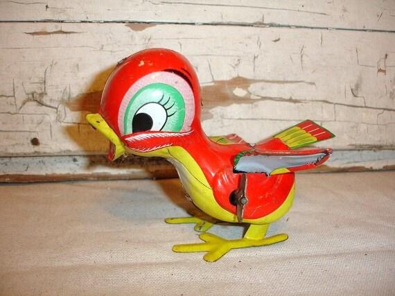 Vintage Mikuni Metal Wind Up Toy Bird
