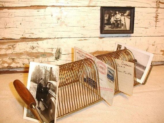 Vintage Brass Wire Record Rack Wood Handles      j