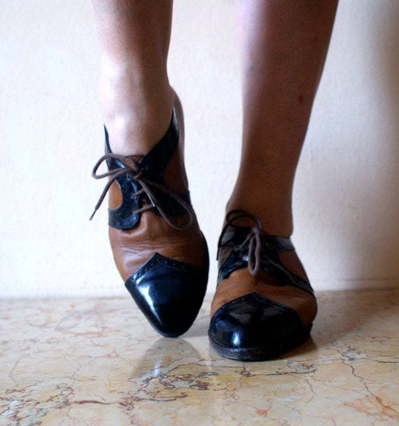 Black and Tan Italian Oxfords with Patent Leather Toes 8