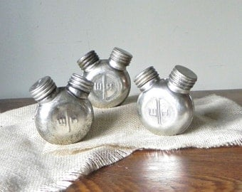 Vintage oil can - double nozzle - silver marked W H - industrial three or 3