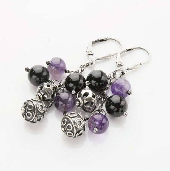 "Violet Sterling Silver Earrings, gemstone dangle earrings - 2.1"" long"