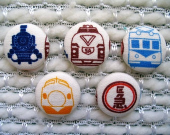 """Train Button, Classic Japanese Trains Fabric Covered Buttons - Set of Five 7/8"""" buttons, Bullet Train, Shinkansen, Steam Locomotive, Blue"""