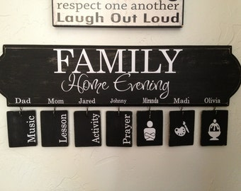 Family Home Evening  vinyl decal with assignments and graphics