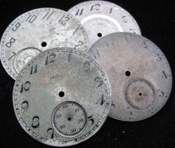 Vintage Antique Watch Dials Steampunk Faces Parts Metal Mixed Media Assemblage PF 100