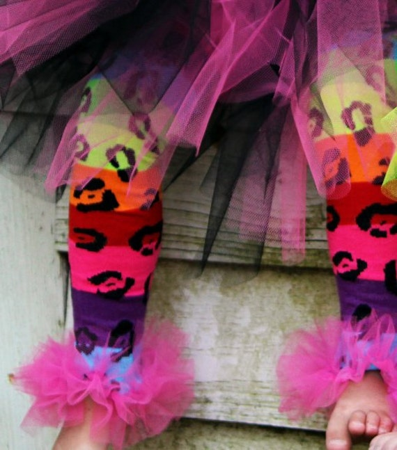 "Bright Rainbow Cheetah Bunny Legs Girls Ruffled Tutu Leg Warmers - Perfect for crawling babys 6m to girls 6X approx 12"" long"