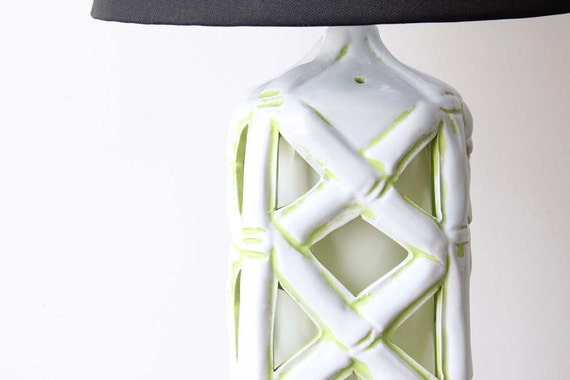 Tall Bamboo White & Lime Green Lantern Lamp