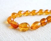 Citrine Briolette Orange Yellow Faceted 3-D Tear Drop Center drilled 7.5 to 8mm 1/2 Strand Wholesale