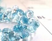 Sky Blue Topaz Briolette Gemstone Faceted 3 DTeardrop Briolette 9mm 7 beads
