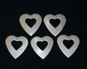 Nickel Silver Heart Washers  - Qty 5