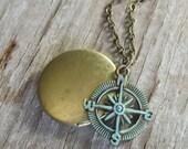 verdigris COMPASS on BRASS LOCKET, nautical necklace