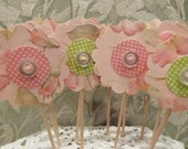 Flower Cupcake Toppers - 12 Paper Button Flowers - Cake or Cupcake Toppers, use for Birthday, Shower, Celebration or a party
