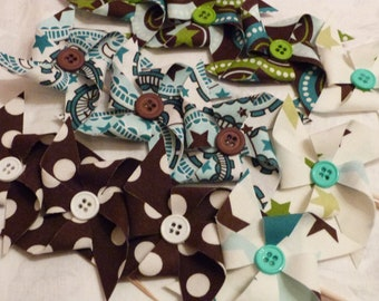 Riley BLAKE Fabric Pinwheel Cupcake Flags - 12 Fabric  Cake Toppers, use for a Birthday, Celebration, Graduation, or a party