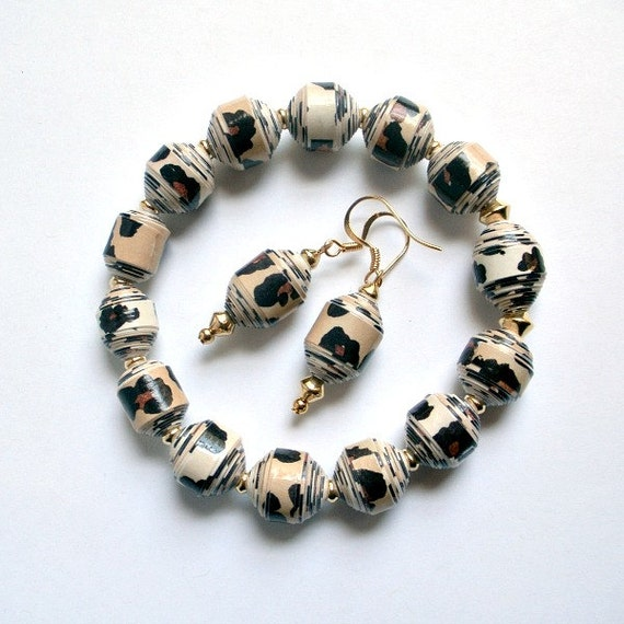 Leopard Print PAPER BEAD Bracelet and Earrings Set - shipping included