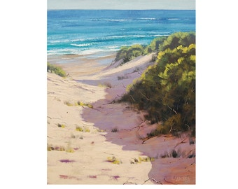 BEACH PAINTINGS Sand Dunes Painting Original Oil Seascape by G. Gercken
