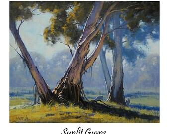AUSTRALIAN PAINTING Australian Landscape Gum Trees painting Trees artwork  by G  Gercken