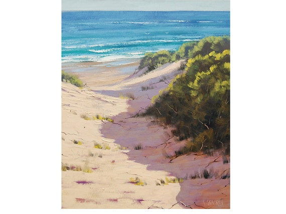 BEACH PAINTINGS Sand Dunes Painting Original Oil Seascape by G. Gercken