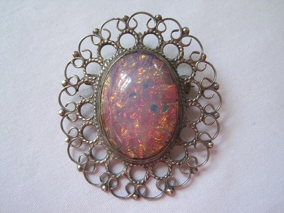 Vintage Sterling Harlequin Glass Brooch Pendant - Mexico Silver