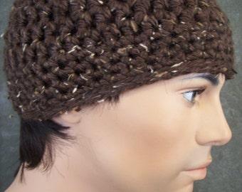 Rich Chocolate Crochet Tweed Skullcap for Men/Ready to Ship