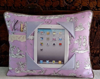 iPad Pillow with Toile Flower Faires in Lavender