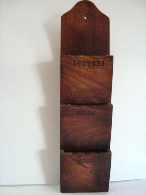 Vintage Wooden Letter Bill Misc Hanging Holder