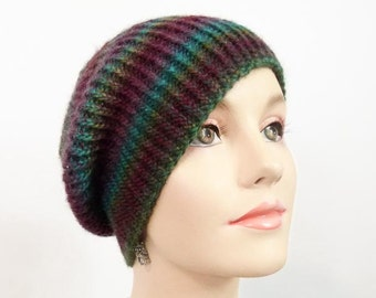 Hand Knit Hat - Slouchy Cloche - Jeweltones- Size Adult Sm/Med -Item 1244