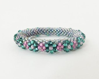 Bead Crochet Flower Bangle in Teal, Pink & Aurora Borealis Beads - Item 1296b