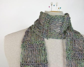 Lightweight Crochet Scarf: Flirty Scarf in Shimmering Greens with a Hint of Violet - Item 1337