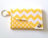 Chevron and Dot Key chain /Credit Card / Business Card Wallet  in Yellow