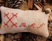 Primitive Christmas Pillow Xmas with Snowflake Cross Stitch Home & Living Decor Housewares