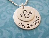 custom monogram wedding anniversary necklace
