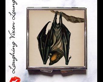 Bat Compact Mirror Style-B - Bat Pill Box - Vampire Compact Mirror - Halloween Compact Mirror - Bat Pill Case - Gothic Compact Mirror