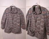 Vintage Oversized Cardigan / Autumn Colors / Handmade Sweater / 1970s