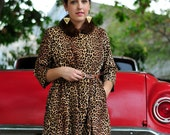 Vintage Corduroy Dress / Leopard Print Smock / Animal Print / 1950s