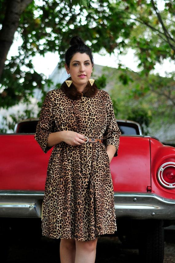 Vintage Corduroy Dress / Leopard Print Smock / Animal Print / 1950s