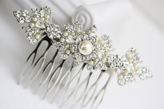 Bridal Hair Comb, Filigree Head Piece, Vintage Pearl Veil Comb, Art deco Wedding Hair Accessories, MARCELLA COMB