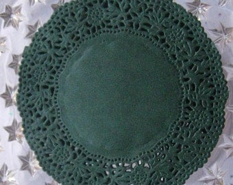 Made In Germany 10 Fancy Paper Lace Doilies Doily In Dark Green 4 Inch  GD 310 GR