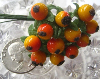 12 Millinery Yellow And Orange Berries Berry Fruit From Austria