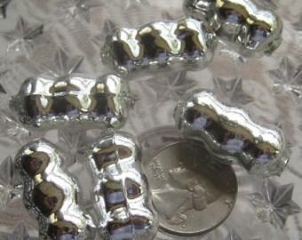 Mercury Glass Beads 6 Fancy Christmas Garland Silver Beads Handmade In Czech Republic  060 S