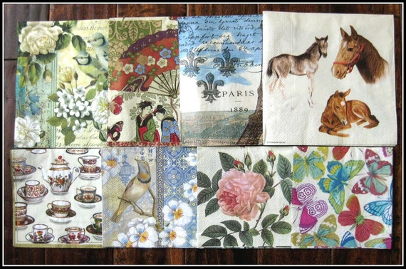 8 miscellaneous art paper napkin sample set for your decoupage collage altered art projects no 5
