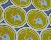 Zoo Animals Jungle Menagerie Party Favor Tags set of 12 by Belleza e Luce