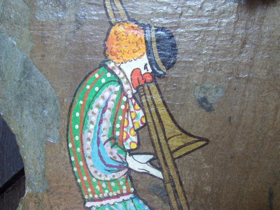 Vintage Slate Painting New Orleans Scene Clown Playing Trumpet Hand Painted by Toni Bottriell McGee.