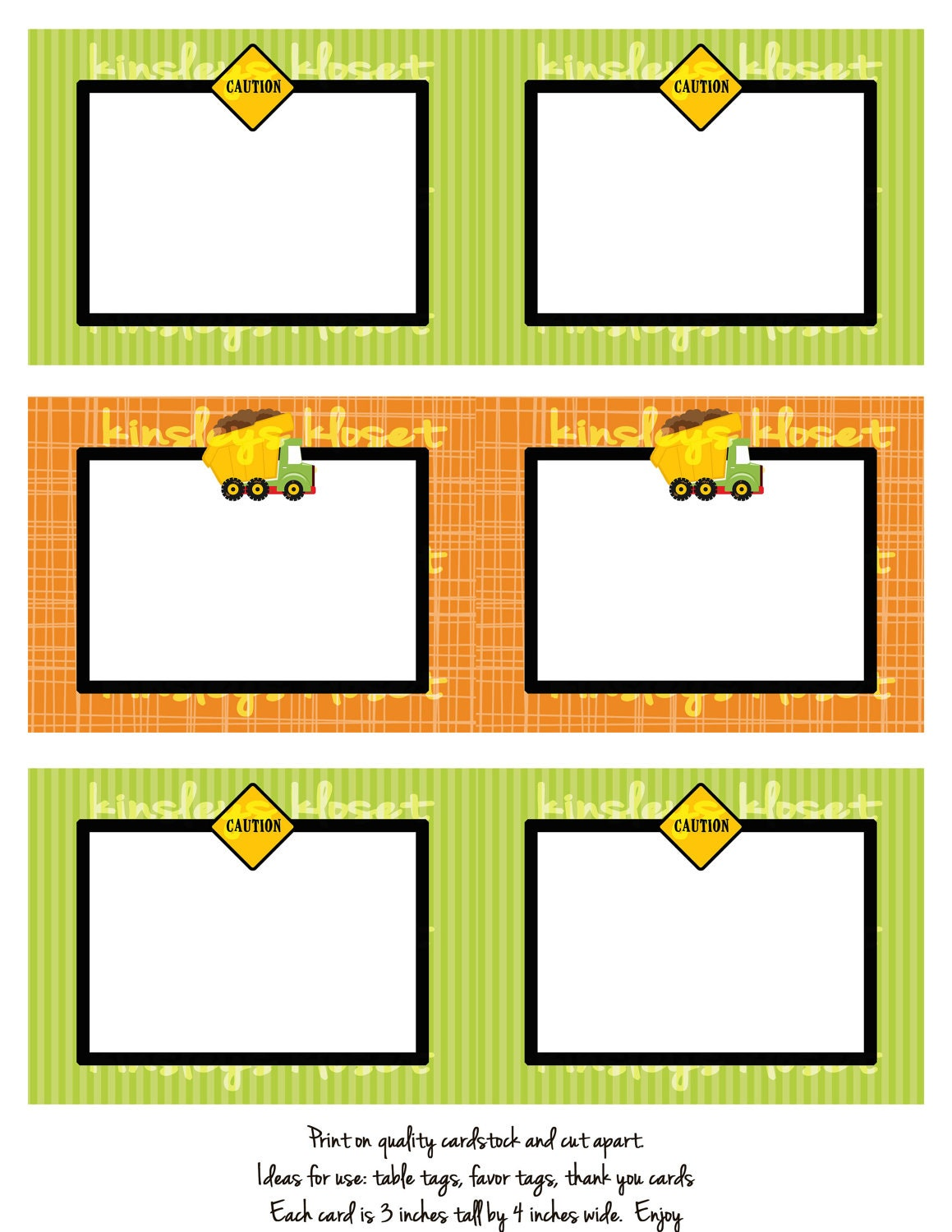 Printable Party Favor Tags/Labels/Food Table Labels