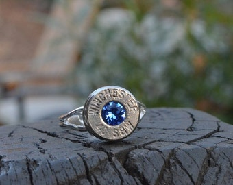 Bullet Shell Ring Handcrafted by me.....Nickel Silver Winchester .40 S&W ring with Swarovski crystal