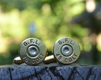 Wedding cuff links bullet cuff links gold cuff links Fiocchi .45 Colt cuff links bullet jewelry groomsmen gifts best man gifts wedding gifts