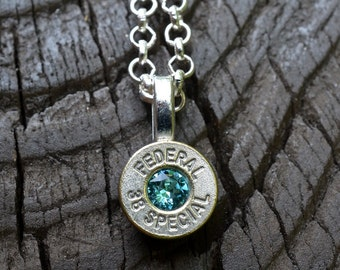 Bullet necklace..... Silver Federal .38 special pendant necklace with Swarovski crystal